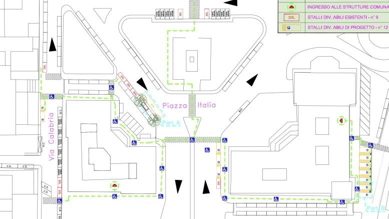 posti disabili Piazza Italia