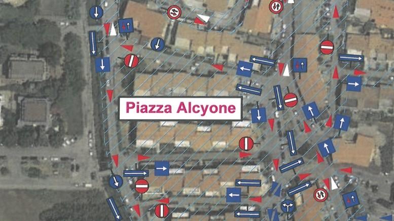 ecco la pianta del senso unico a piazza alcyone